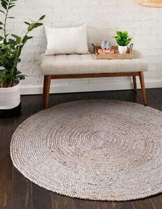 Rug Grey Natural Braided style rug Reversible Modern look Rug Living Carpet Rug