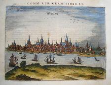 Rostock Mecklenburg-Vorpommern echter alter kolorierter Bertius Kupferstich 1616