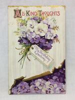 Vtg Birthday Greetings embossed Violets Purple Flowers Postcard floral 1913