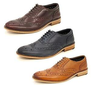 Mens Leather Lace Up Wingtip Formal Brogues Shoes SIze 7 8 9 10 11 12