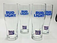 Set of 4 New Bud Light NY GIANTS NFL Beer 16 Oz Pint Glasses Premium Light Lager