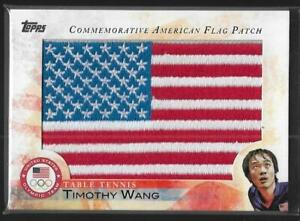 2012 TOPPS OLYMPIC TIMOTHY WANG FLAG PATCH CARD ~ TABLE TENNIS ~ PING PONG