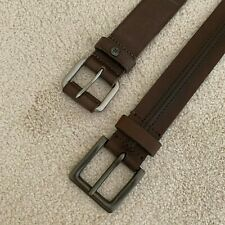 Two (2) Lucky Brand Men's Leather Belts - Size 38 - Brown