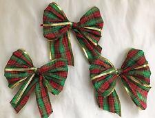 """3 X rosso/verde 5"""" Tartan Cravatta con Bordo d'Oro Per Fiocchi, Fiocchi Regalo, Albero Natale"""