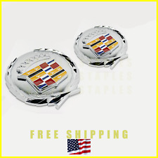 2pc Cadillac Cadi Chrome Crest 4 inch Emblem Badge Decal 3D ABS Plastic Stick-On