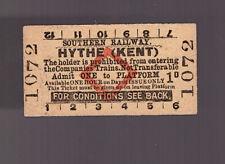 Southern Railway Platform Ticket - Hythe (Kent)  - Dated 1951