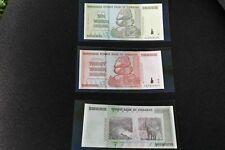 10, 20, 50, trilioni di dollari Zimbabwe NOTE. UNC set di 3