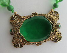 Vintage Czech Brass&Green Stone Pendant Pink Art Glass Bead Necklace