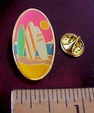 Surfboards In The Sand Endless Summer-Like Sun Beach Ocean Pastel Sky Surfer Pin