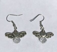angel wing earrings With Hearts