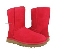 UGG Classic Short II Ribbon Red Suede Fur Boots Womens Size 8 *NIB*