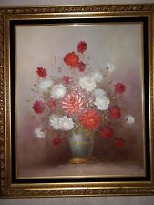 Vintage Robert Cox 1934-2001 LARGE Framed Floral Oil Painting With Antique Frame
