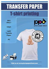 PPD Inkjet Transfer Paper Iron on for light colour T-Shirts-Premium, A3, 10