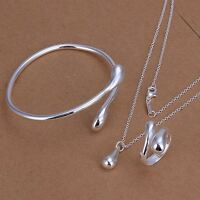 fashion silver 925 cute Drop women necklace ring bracelet jewelry set Wedding