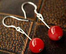 10 12 14MM Red Jade Round Gemstone 925 Silver Dangle Earrings JE181
