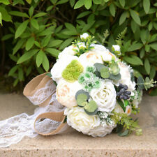 White Bridal Bouquet Artificial Roses Bouquets Wedding Delicate Charming Flowers