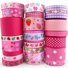 20 Yards Flower Grosgrain Ribbon 9mm--38mm Assorted 20 Styles Pink Theme Bow