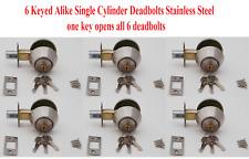 6 Keyed Alike (1 key opens all) Single Cylinder Deadbolt w/18 Keys, Satin Nickel