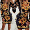 Women's Printed Long Sleeve Bodycon Casual Party Sexy Slim Fit Midi Dress