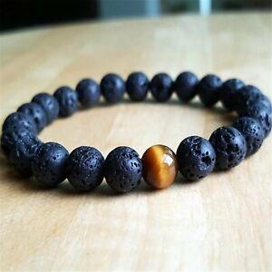 8mm Natural Lava Stone Beads Handmade Bracelet 7.5inch Blessing Religious