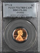 1971-S LINCOLN CENT PENNY DOUBLED DIE PCGS PR67 RD CAMEO DDO FS-101, PG = $2,750
