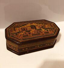 Vintage Possibly Burmese & Papier-mâché Asian Lacquer Box Hand Painted.