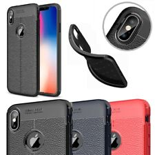 Rubber Soft TPU Leather Bumper Back Case Cover For iPhone X Max Xr SE 8 7 6 Plus