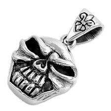 Fleur De Lis Oxidized Evil Skull Pendant .925 Sterling Silver Biker Horror Charm