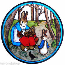 STAINED GLASS WINDOW ART STATIC CLING BEATRIX POTTER - MRS BUNNY & PETER IN WOOD