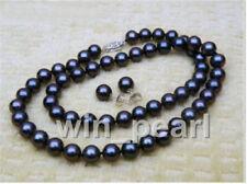 Set of 18 pouces 10-11 mm Black TAHITIAN SOUTH SEA PEARL NECKLACE BRACELET earring