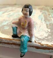 """Vintage Japan Shelf Sitter 3"""" Porcelain Figurine Teal and Pink"""