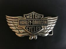 "Harley-Davidson men's B&S /wing""Gravity""belt buckle .#HDMBU10301.Silver plaited."