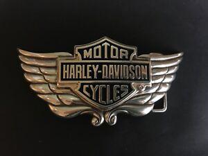 "Harley-Davidson men's B&S /wing""Gravity""belt buckle .#HDMBU10301.Silver plaited."