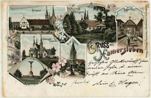 1896 GERMANY GRUSS HAMERSLEBEN CHROMO LITHO POSTED POSTCARD