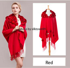 Cashmere Pashmina Shawl Rose Rabbit Fur Long Wool 4ply Wrap Fashion Scarf Red
