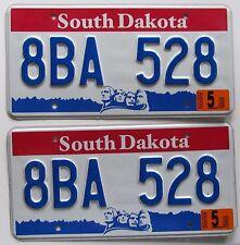 South Dakota 2003 License Plate PAIR - NICE QUALITY # 8BA 528