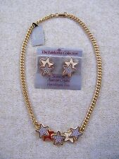 NEW EDELWEISS ~ GOLD TONE / CREAM & RED STAR NECKLACE W/ MATCHING EARRINGS