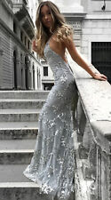 Womens Sequins Mermaid Long Evening Formal Party Ball Prom Gown Backless Dresses
