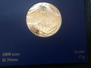 Piece francaise de 1000 euro or rare (neuf) idée cadeau