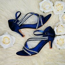 Women Satin Mid Heel Shoes Diamante Ankle Strap Evening Wedding Bridal Prom Size