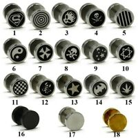 316L Stainless Steel Fake Cheater Mens Ear Plug Earring Stud Stretcher Piercing