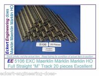 EE 5106 EXC Marklin HO M Straight Track 20 ea Excellent Low Resistance Verified