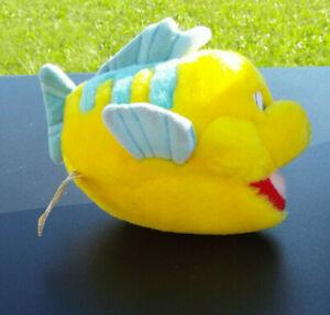 "7"" Applause Disney The Little Mermaid Flound Plush Yellow Blue Fish VTG"