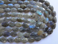 10x14mm Natural Labradorite Faceted Oval Gemstone Beads, Half Strand