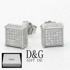 6mm Studs Square Earring Unisex + Box Dg Men's Sterling Silver 925 Cz Ice-out