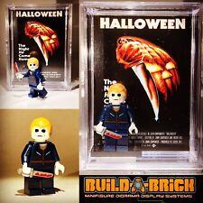 Halloween Michael Myers HORROR MINIFIGURE w Display Case Lego Type Custom 351b