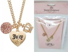 JUICY COUTURE gold tone simulated crystal Heart Crown Charm Necklace CARDED new