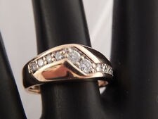 14k Yellow Gold Men's Round Brilliant Diamond Ring .34 tcw G/SI Band Estate