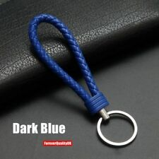 Dark blue Car Keychain Key Chain Key Ring Key Fob Leather Rope Strap Weave
