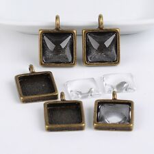 5Sets Tibetan Style Pendant Bezel Settings and Clear Glass Cabochons Square